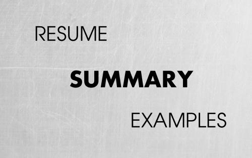 Resume Summary Examples