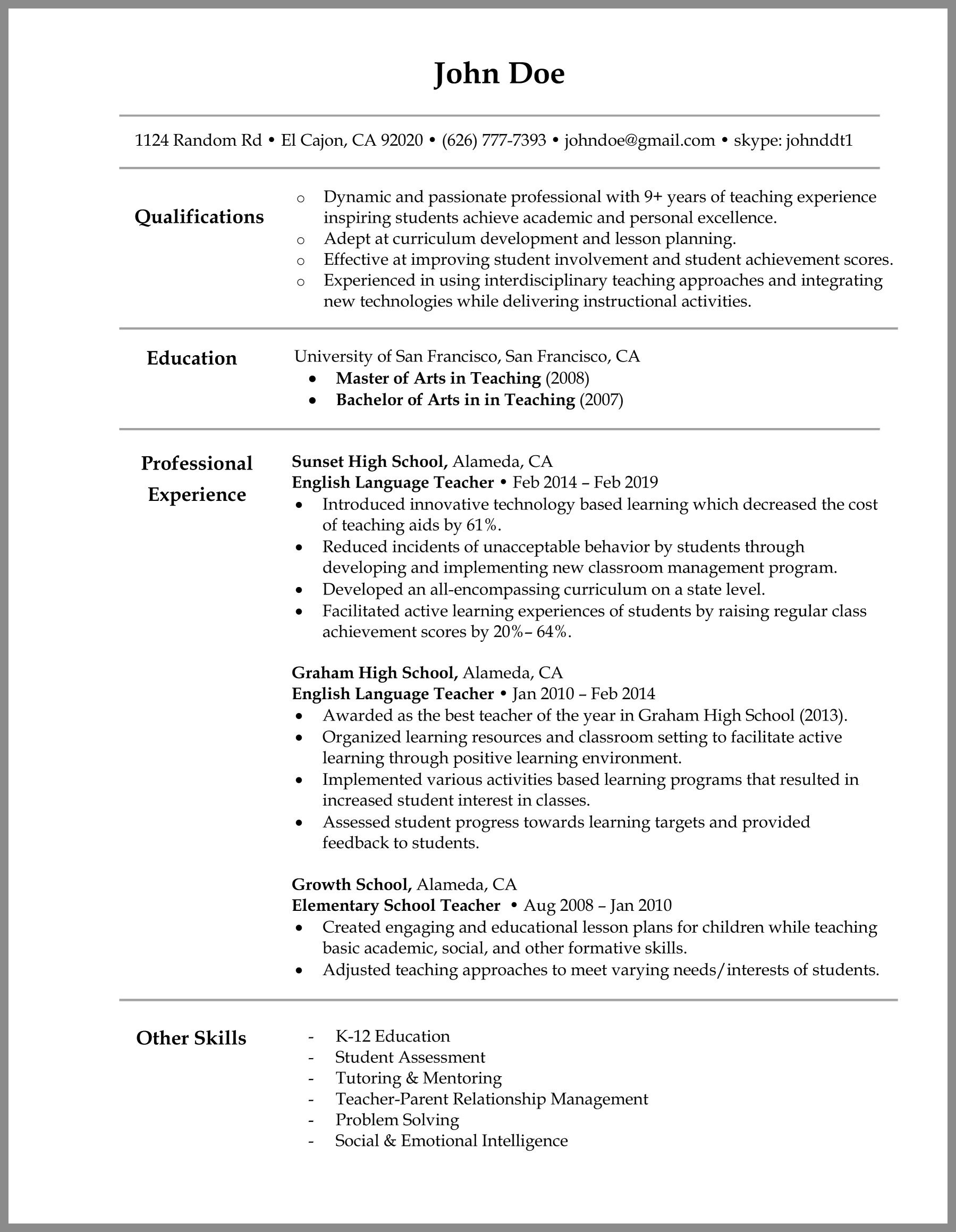 Teacher Resume Writing Tips Sample
